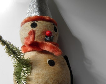 Victorian Antique Snow Man Candy Container
