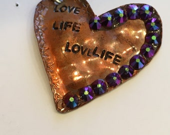 Heart Pendant Copper Hand Cut Stamped Annealed Sterling Jumpring Soldered Love Life