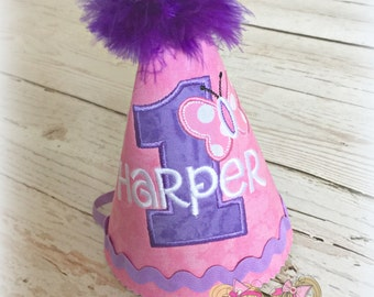 Butterfly birthday hat - pink and purple butterfly hat - 1st birthday fabric hat with butterfly - butterfly themed birthday - girls birthday