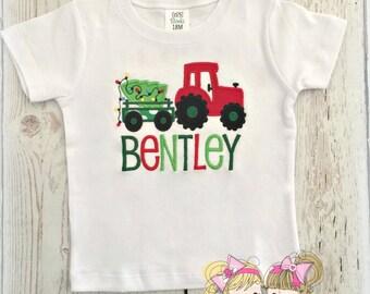 Christmas tractor shirt - Boys Christmas shirt - tractor hauling Christmas tree shirt - personalized Christmas/Holiday shirt for boys