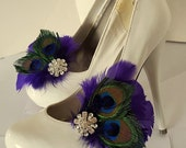Purple Peacock Shoe Clips, Bridal Shoe Clips , Peacock Shoe Clips, Purple Shoe Clips, Feather Shoe Clips, Wedding Shoe Clips, Accessories