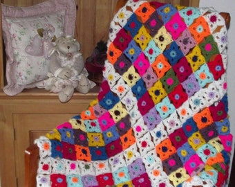 crochet Granny Square Throw / blanket / afghan newly made , vintage retro, stylecraft