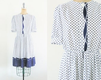 Vintage 1980s 1950s Style Navy and White Polka Dot Dress Navy Polka Dot Dress 50s Polka Dot Dress Blue Polka Dot Dress Medium Size 8