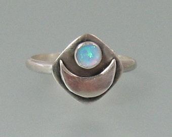 Opal crescent moon ring - sterling silver natural opal ring - boho ring - artisan statement ring - October birthstone - goddess ring