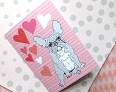 French bulldog valentine - french bulldog greeting card - frenchie engagement card - anniversary card - everyday card - blank inside - grey