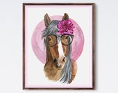 Hipster Horse Painting - Horse In Glasses - Watercolor Painting - Watercolor Print - Animal Watercolor - Animal Art - Hipster Animal