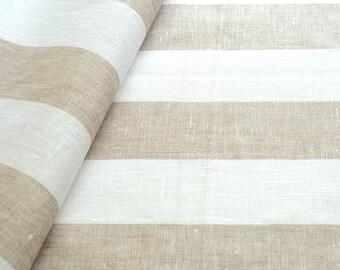 3 Yards linen fabric beige white striped