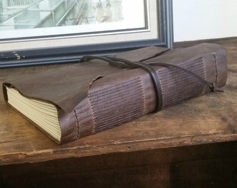 """Large Hand-Bound Leather Journal, 6"""" x 9"""" Chestnut Brown Journal by The Orange Windmill on Etsy 1602"""
