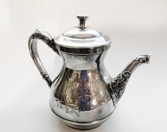 Vintage Victorian Teapot, Quadruple Silver Plate Teapot, Vintage Coffee Pot, Cottage Chic Silver, Wedding Silver Teapot