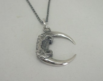 "Special listing - Small Double Barn Owl Claw + 32"" necklace - Sterling Silver"
