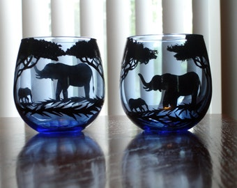 2 elephant juice glasses (available right away)
