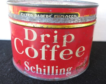 Vintage  Schilling  Coffee Tin , Key Wind, original lid