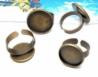 Ring Blanks -10pcs 16mm, 20mm Antique Bronze Brass Adjustable Cameo Setting Ring Base Setting LB505-5 / LB505-6
