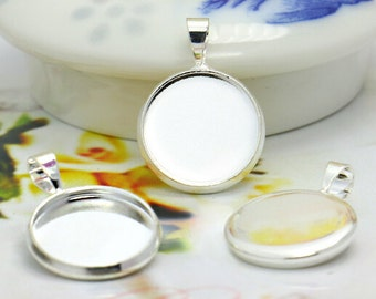 10pcs 12mm 14mm High Quality Silver Plated Brass Cameo Cabochon Base Setting Charm Pendant LB204-2/LB208-4