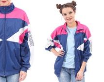 BLUE BOMBER Jacket 80s Workout Colour Block Zip Up Old School Navy Blue Pink White Hip Hop Men Women Unisex Brooks Logo Athletic Sports XXL