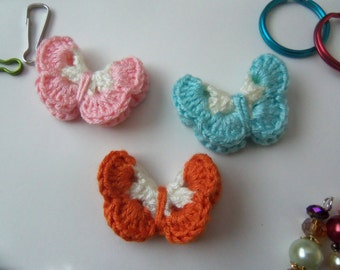 Small Crochet Butterfly Appliques. Assorted Crochet Butterflies.