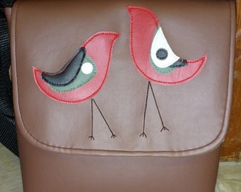 Camera Bag, Small Side Satchel, Vinly Messenger in Brick Brown with Modern Red Birds Blue Leafs