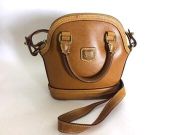 Vintage Leather Purse - Tan Satchel w Crossbody Strap