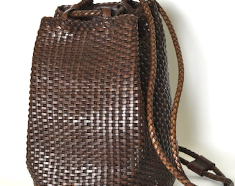 Vintage Chocolate Brown Leather Drawstring Backpack - Woven 90s Convertible Duffle Bag