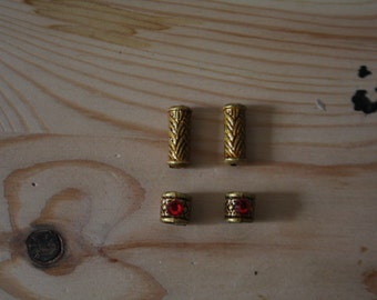 4 set red/gold Dwarf/Viking/Cosplay/LARP hair/beard/moustache beads