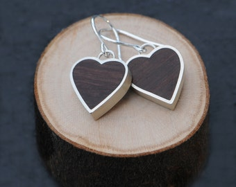 Heart Earrings - Heart Shape Silver Earrings with Rose Wood - Sterling Silver Earrings - Free Shipping