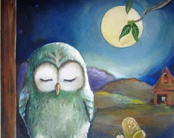 """Woohoo Weekend Sale The Owl and the Bug- art print on watercolor paper 8""""x 8"""""""