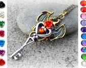 Custom Antique Gold Dragon Necklace / Key to my Heart Necklace / Personalized Necklace / Swarovski Crystal Necklace / Skeleton Key Necklace