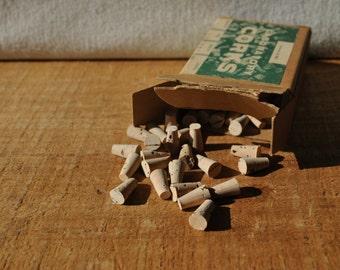 Tiny Laboratory Corks - Vintage Will Scientific Size 000 Corks - Laboratory or Crafting Corks - Original Box - NOS - Itty Bitty Corks