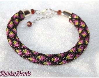 Colorful rhombs seed bead bracelet elegant accessory handmade geometric pattern