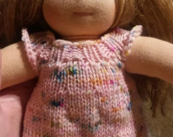 """Waldorf doll Dress Jumper Hand Knit Wool One of a Kind Pink with Rainbow Hand Dyed 10-11"""""""