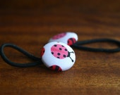 Pink Lady Bird Pony Tail Holder Hair Elastic Hair Tie - Set of 2 - Gifts