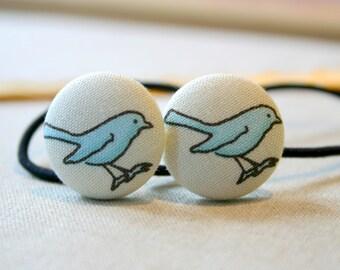Blue Birds Button Hair Elastics Hair Elastic Hair Tie - Set of 2 - Ideal Gift - 23mm - Pony Tail Holder