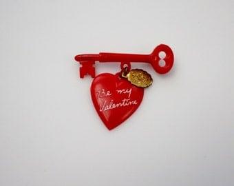 Vintage Plastic Be My Valentine Heart Brooch - Mid Century Plastic Jewelry Red Heart Skeleton Key Miraculous Medal Charm Valentine Brooch
