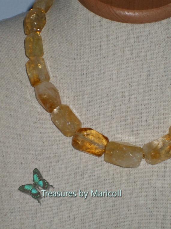 Beautiful Big Nuggets Citrine Necklace
