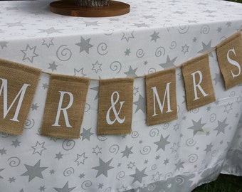 Mr. & Mrs. Banner, Burlap Mr and Mrs, Wedding Banner, Burlap Banner, Burlap Wedding, Rustic Wedding, Table Banner, Reception Sign