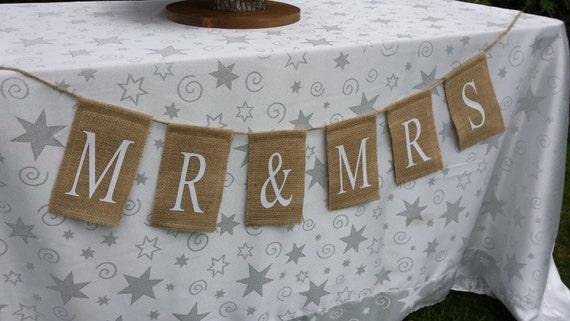 Mr. & Mrs. Banner, Burlap Mr and Mrs, Wedding Banner, Burlap Banner, Burlap Wedding, Rustic Wedding, Table Banner, Reception Sign
