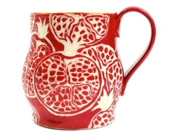Gift-Worthy POMEGRANATE Themed Mug - SGRAFFITO Carved - Fresh, Whimsical Cup / Mug  - Stoneware Pottery
