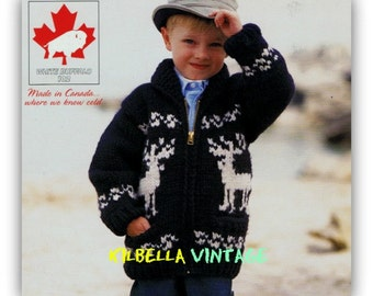 Cowichan Sweater  WHITE BUFFALO Graph Sweater Knitting Pattern Children Snowflake Reindeer Design Instant Download on Etsy