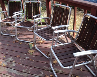 FREE DELIVERY WITHIN A 25 Mile Radius or for Pick Up Only:  4 Mid Century Modern Outdoor Aluminum and Redwood Arm Chairs in Good Condition