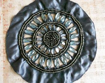 Gray Stone Beaded Applique