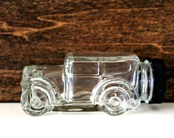 vintage car candy bottle, glass candy container, glass car bottle,