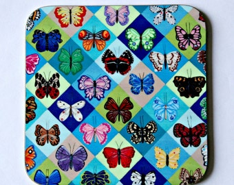 Butterfly Harlequin Coaster - single