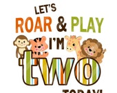 Jungle Animals Roarrring Birthday Number Digital Download Image for iron-ons, heat transfer, Scrapbooking, Cards, Tags, DIY YOU PRINT