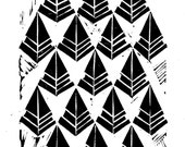 NEW - Linocut Print - Abstract Repeating Geometric Triangles 5 x 7 Block Print - 1-8050