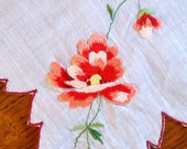 Vintage hanky with Coral varigated embroidered flower and fancy scalloped edge