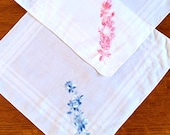 A Pair of Vintage Cotton Embroidered Hankies Pink and Blue
