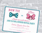 Bow & Bow Tie Gender Reveal Invitation - Custom wording and color