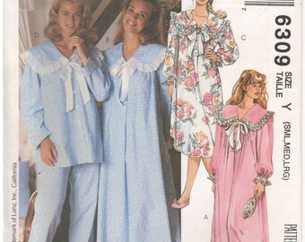 McCalls 6309 Vintage 1990s Sewing Pattern Nightgown Pajamas Sleepwear Top Pants Loose Fitting Gathers Collar Bow