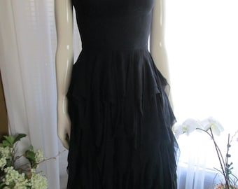 1950s Ladies Black Silk Chiffon Layered Skirt PARTY DRESS-no label