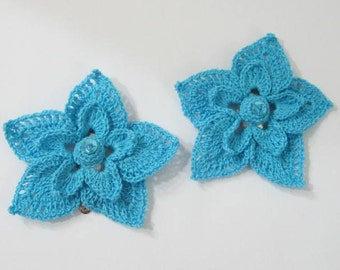 Turquoise Flower Hair Clip set of 2, Flower Hair Pin, Bridal Hair Flower, Bridesmaid Flower Clips, Wedding Flower Hair Clip, Girls Hair Clip